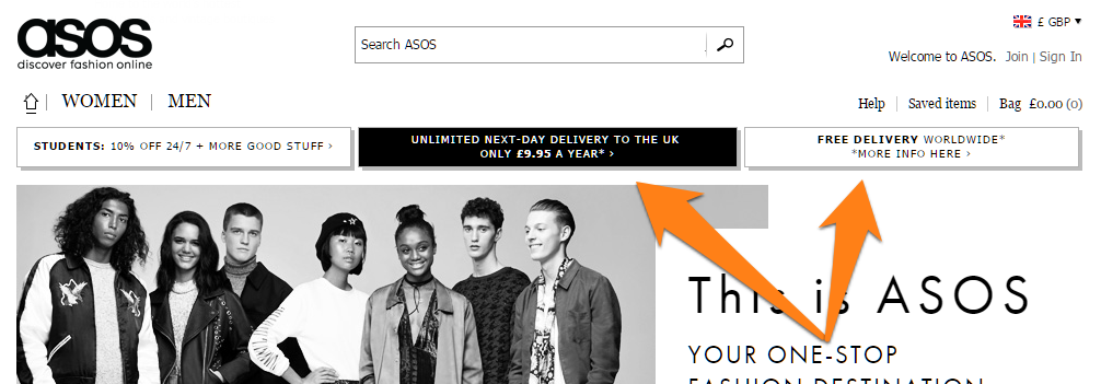 ASOS's prominent shipping policies