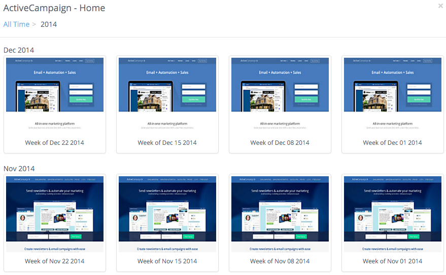 ActiveCampaign's homepage design history over Novemer and December 2014
