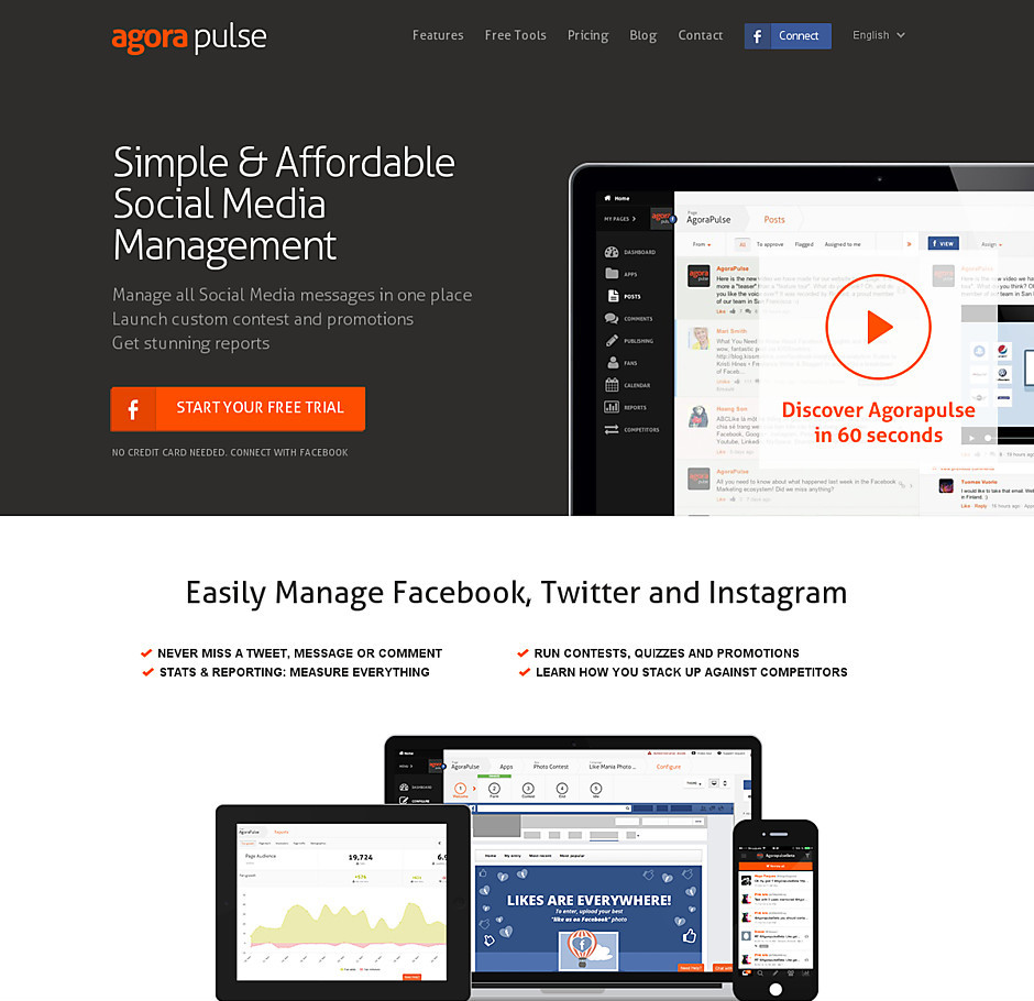 Agora Pulse homepage before