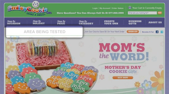SmileyCookie.com spent time optimizing the bar above their header and below the navigation.