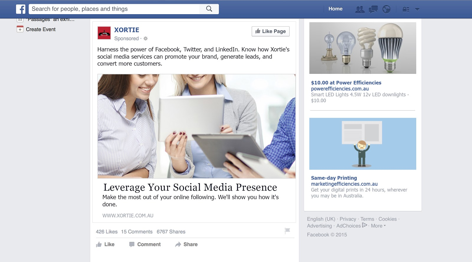 Facebook ads newsfeed