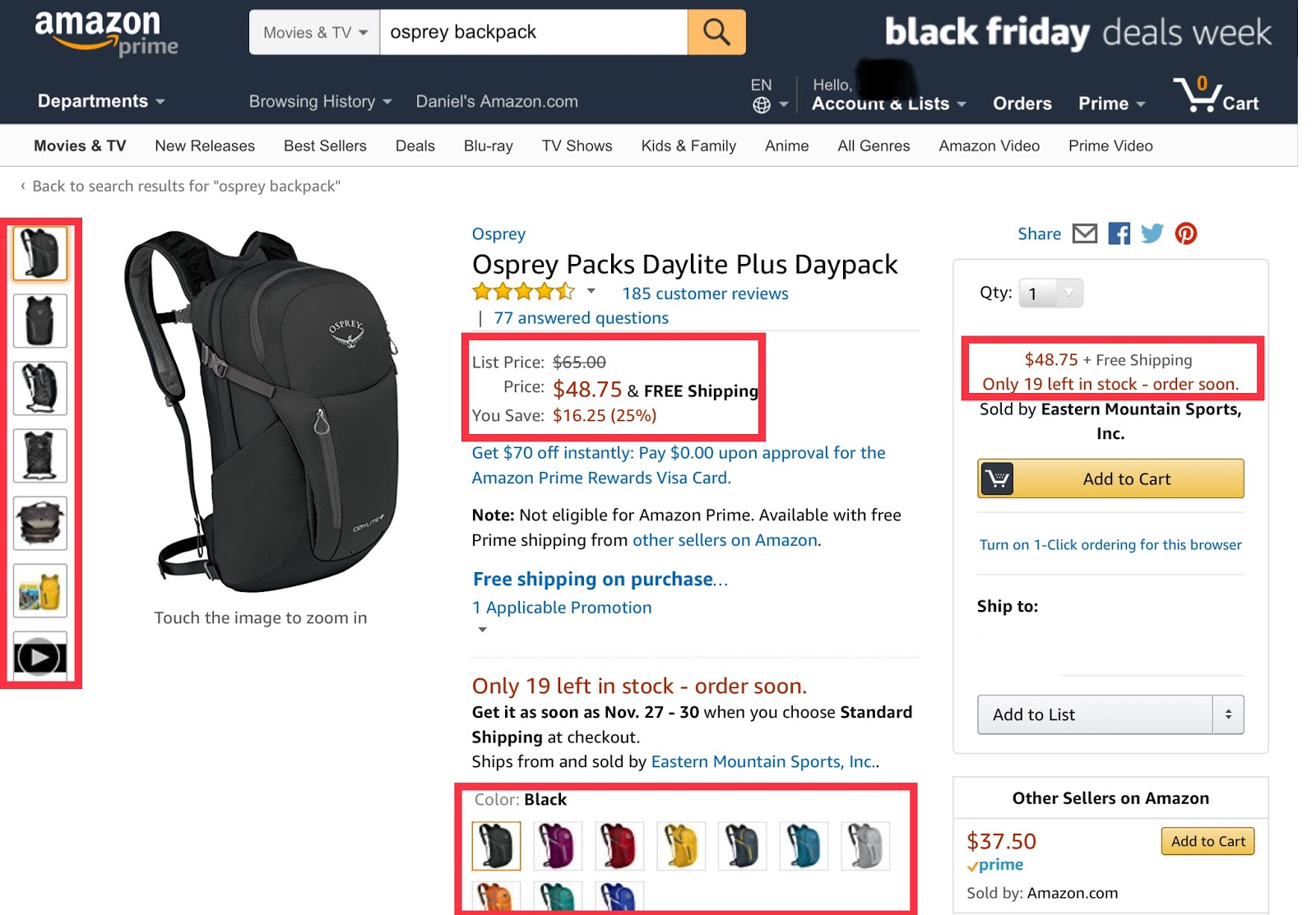 Amazon uses in-stock status to create scarcity and urgency.