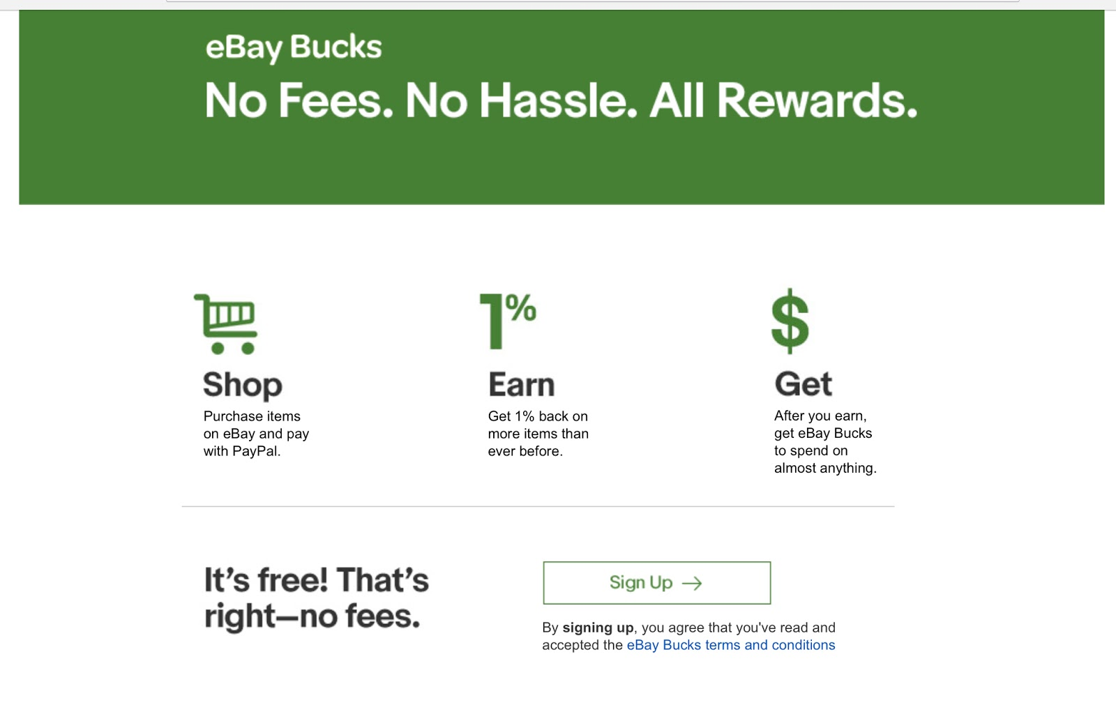 eBay offers eBay Bucks, but lacks the incentive that shoppers feel when they pay to play.