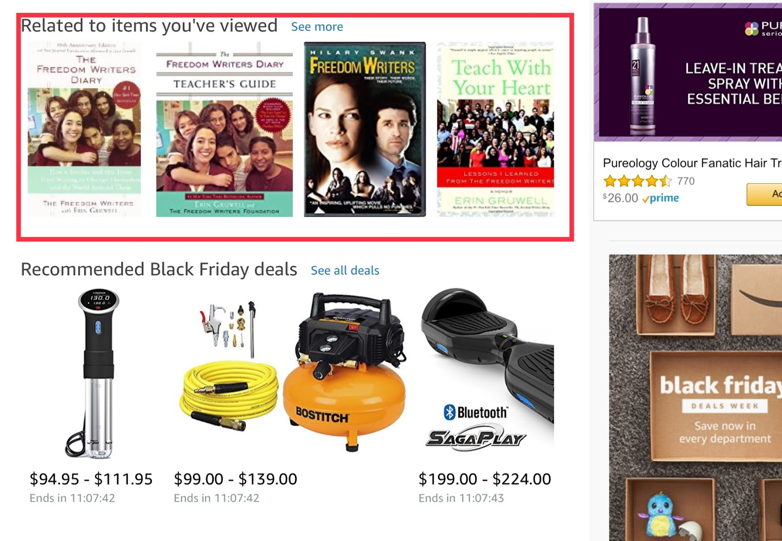 Amazon isn't coy about tracking items you've viewed.