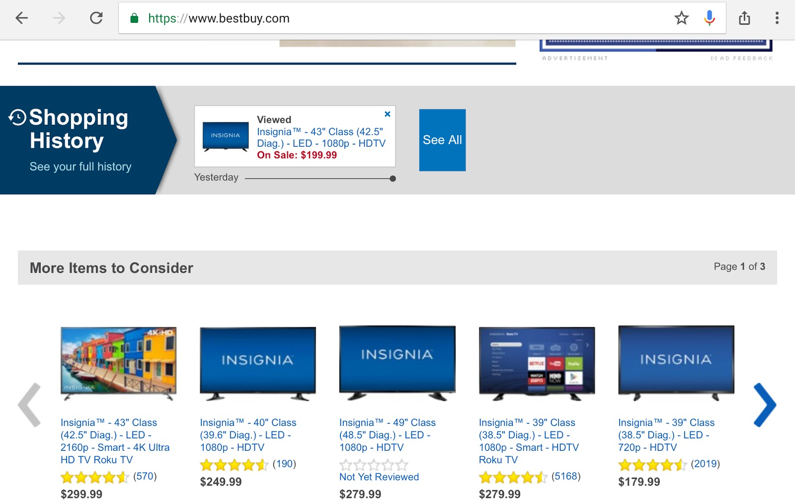 Best Buy remembers my searches so it's easy to find them again when I've made my decision.