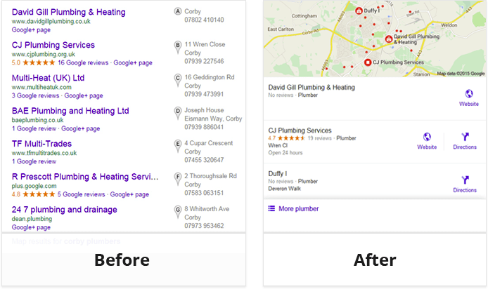 Google local search results before and after introducing the 3-pack SERPs