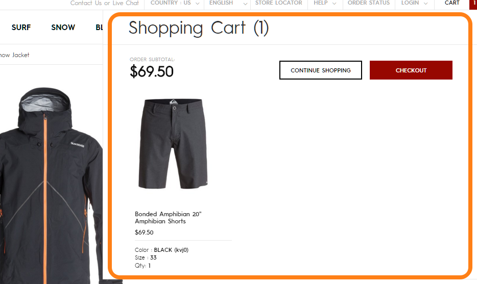 Hover view of shopping cart on Quicksilver