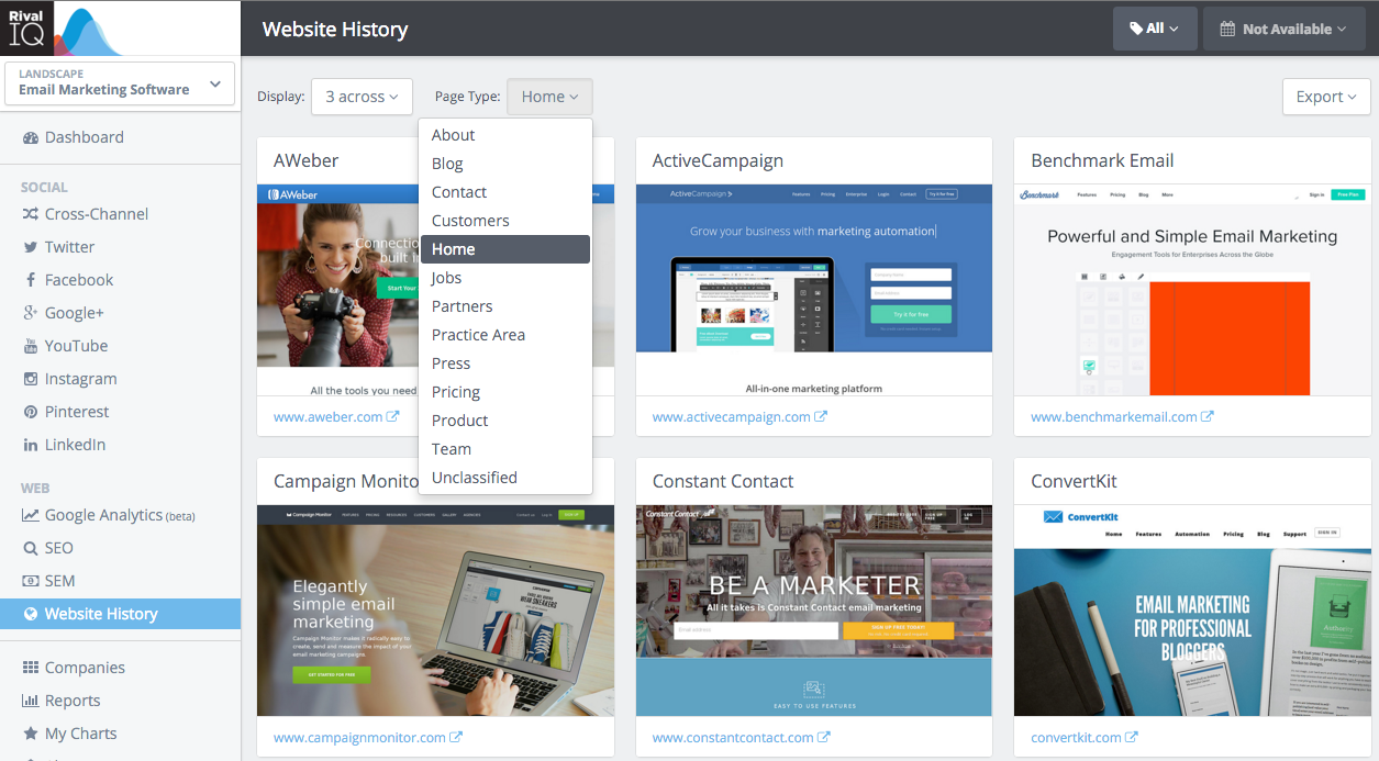 In the website history dashboard, you can view a variety of web pages from your competitor's websites.