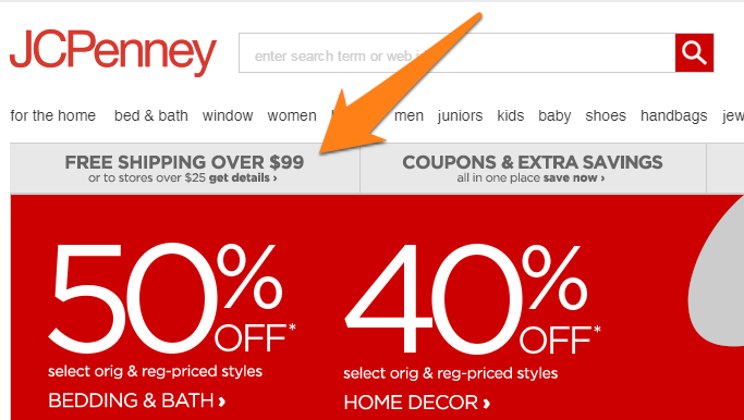 JCPenney's shipping policy