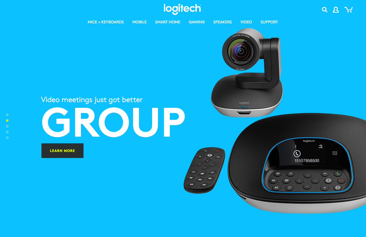 Logitech's new homepage focusing on a single product