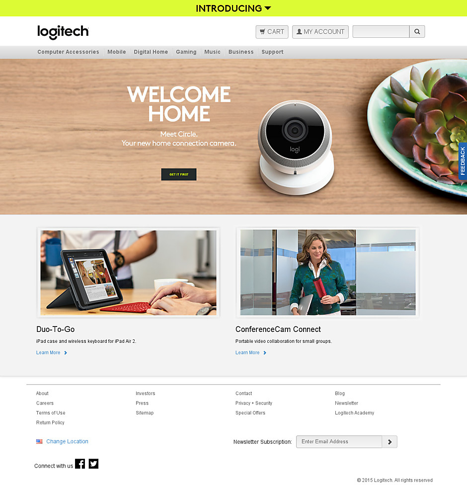 Logitech's original, more traditional homepage