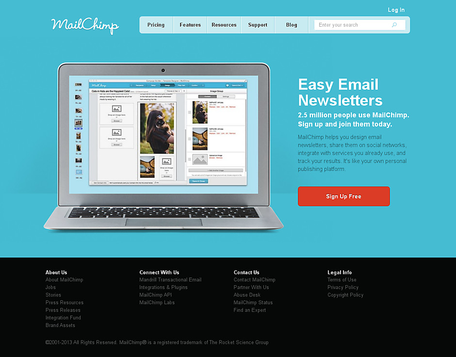 Mailchimp's landing page with an image of newsletter editor
