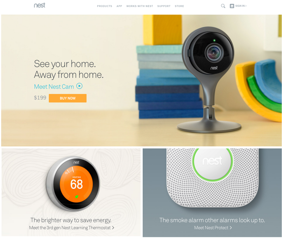 Nest featuring its Nest Cam on the homepage