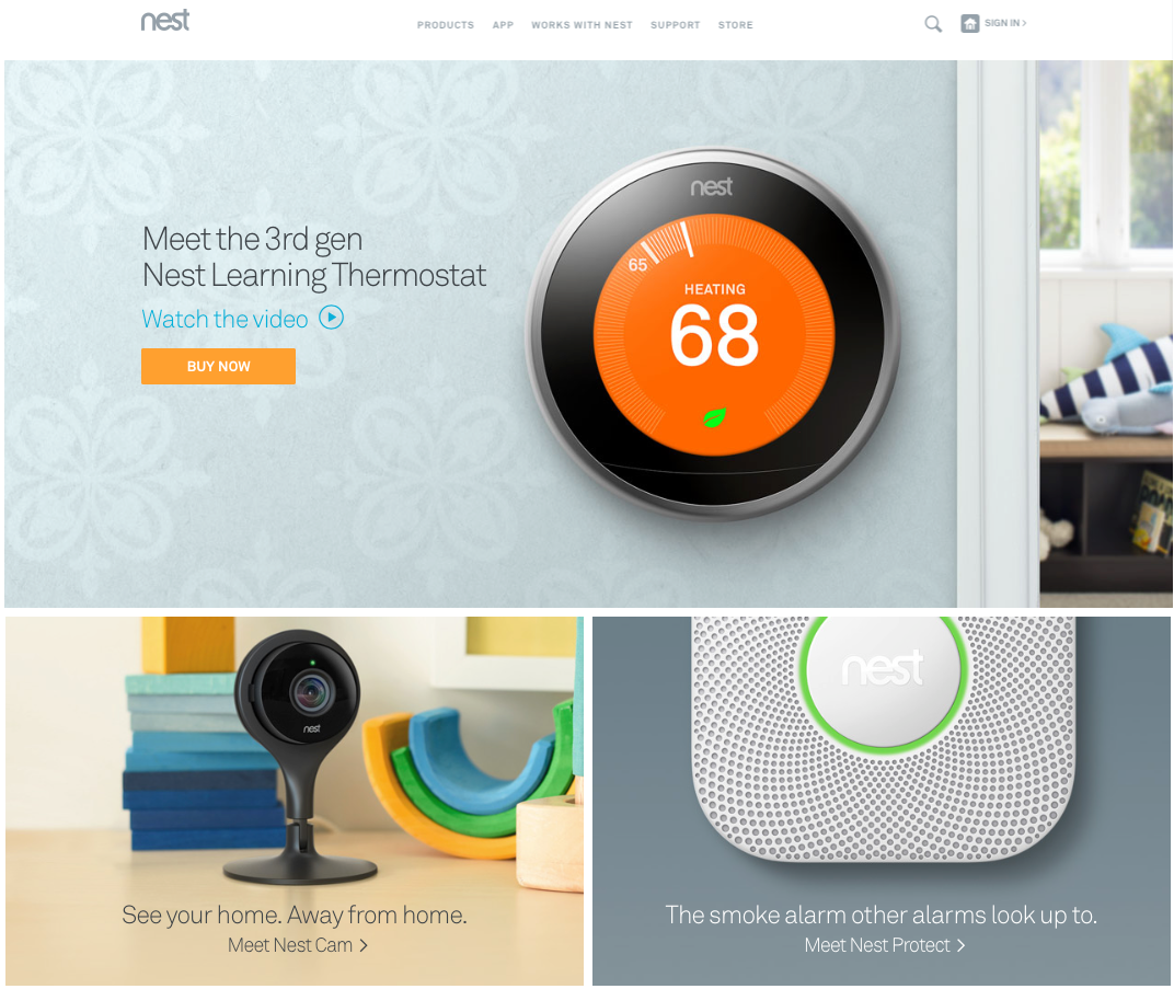 Nest featuring its thermostat on its homepage