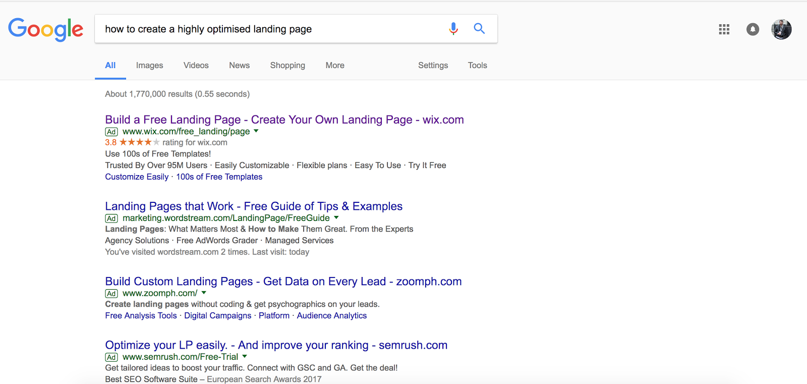"Search results for ""how to create a highly optimised landing page"""