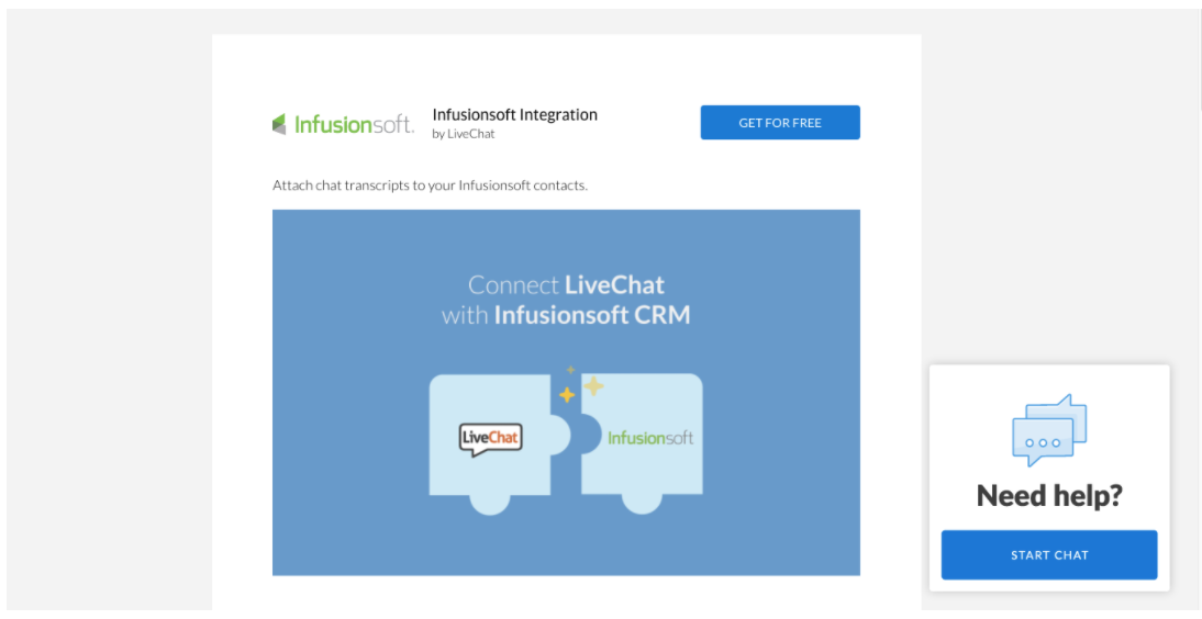 Live Chat integrated with Infusionsoft