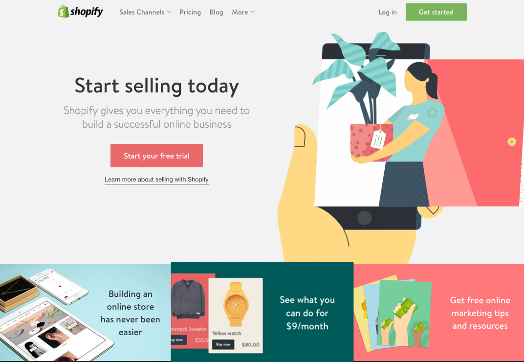 Shopify's homepage with a non-specific target would be the control in this AB Test