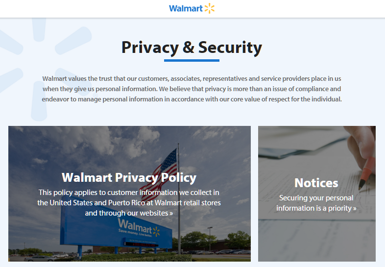 Walmart's page devoted to online security