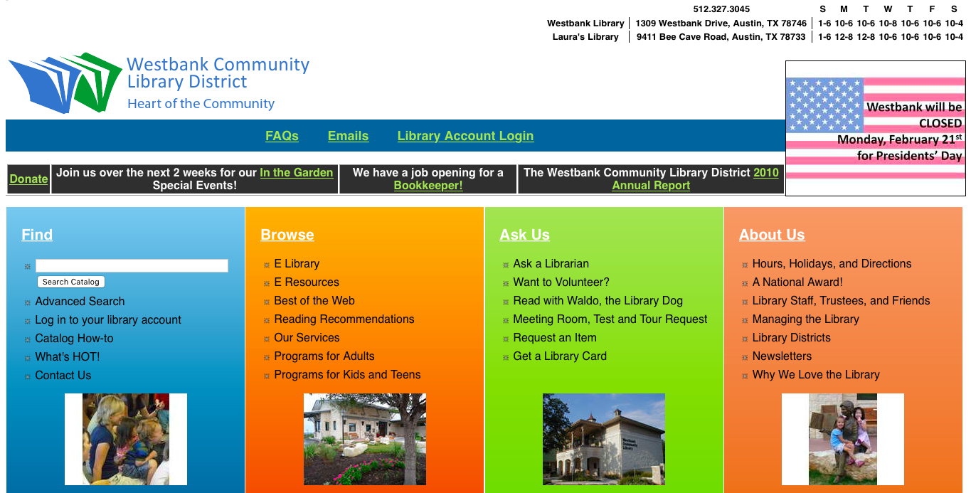 Westbank's homepage in 2008, built with a CMS that was only intended to be used for online library catalogs