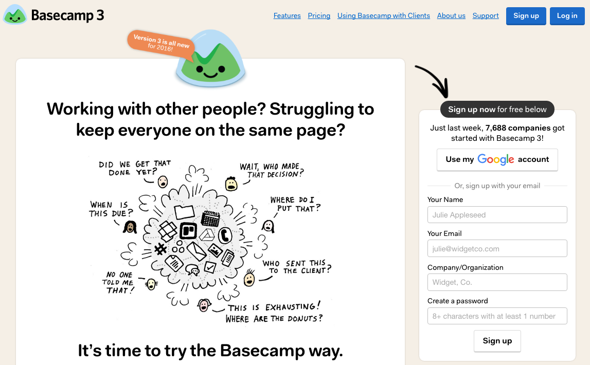 Basecamp uses the classic Problem-Agitation-Solution persuasion technique.