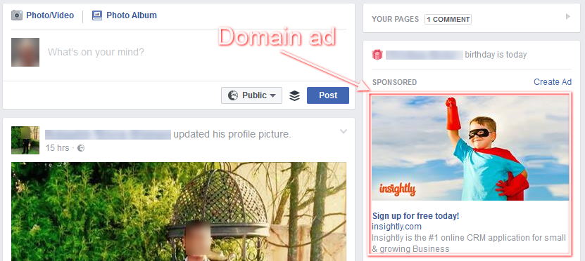 facebook domain ad