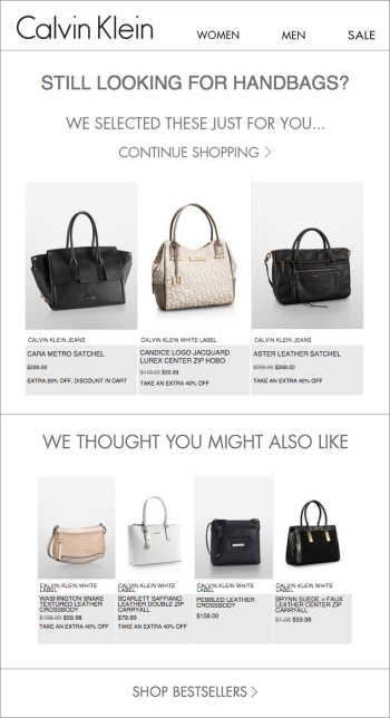 In this Calvin Klein example, shoppers get automated emails that reflect their search activity.