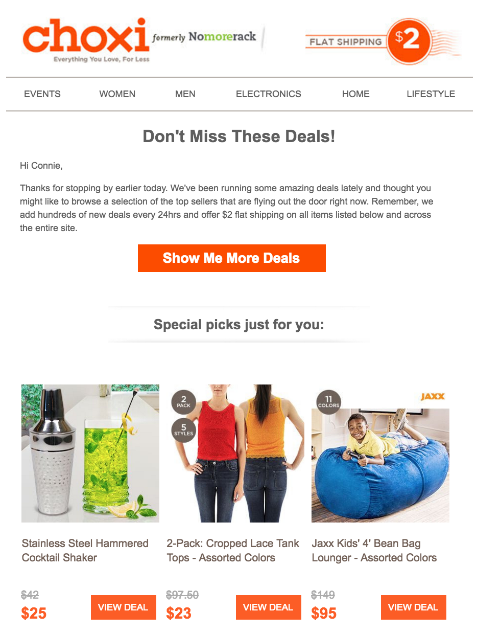Choxi showcases its best deals for homepage automated email responses.