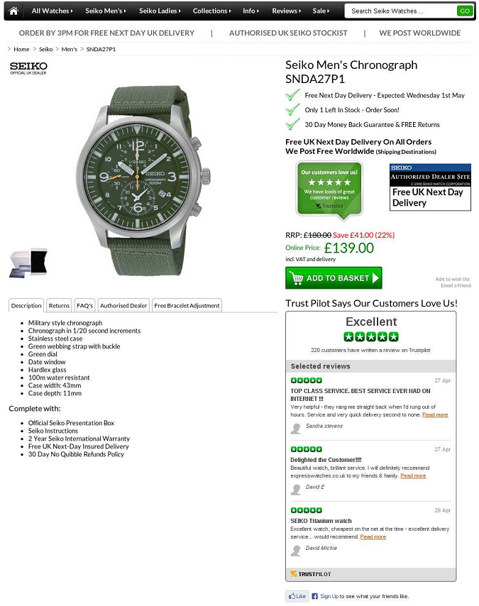 ExpressWatch tested this more aggressive presentation of reviews on their product page.