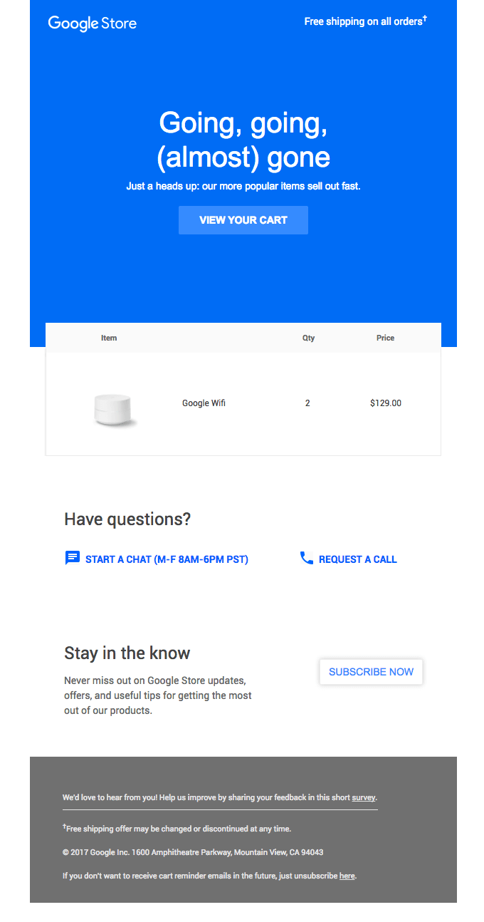 Google uses cart abandonment emails too