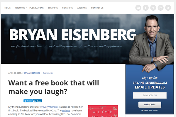 Bryan Eisenberg uses his hero image to draw attention to the subscription offer on his home page.