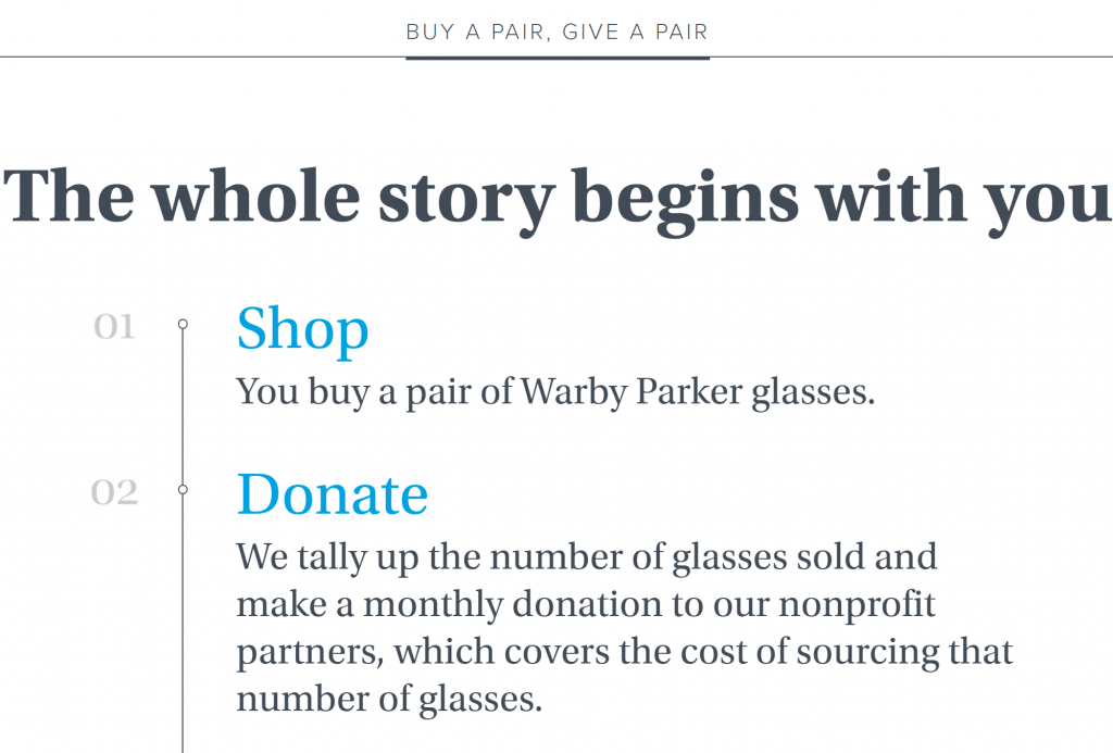 Warby Parker matches your purchase with a donation.