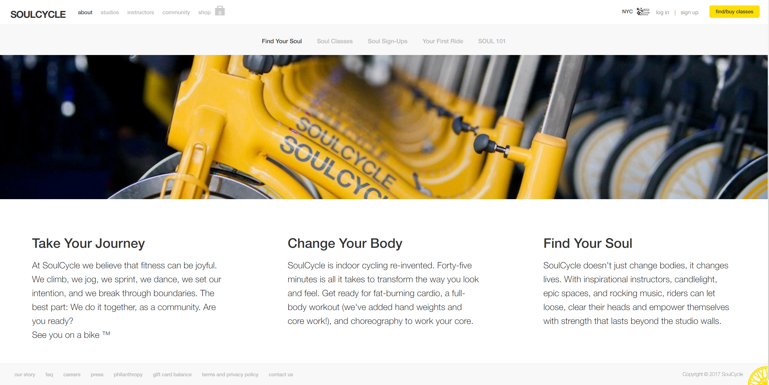 "Tagline examples: SoulCycle doesn't say ""find a cycle,"" they say ""Find your soul"""
