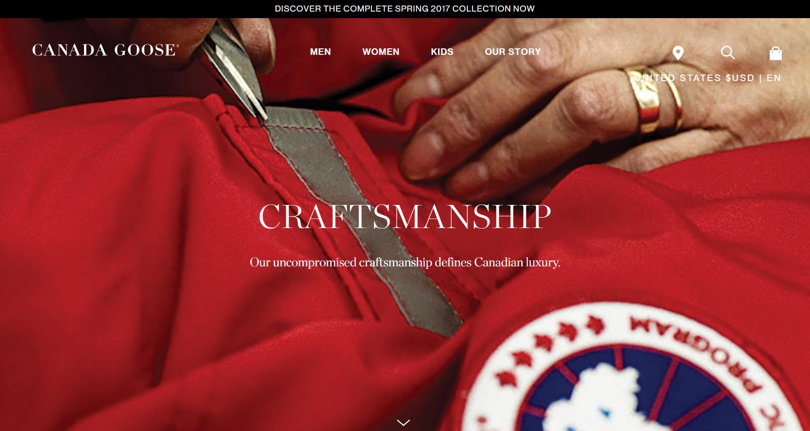 Tagline examples: Canada Goose, Craftmanship