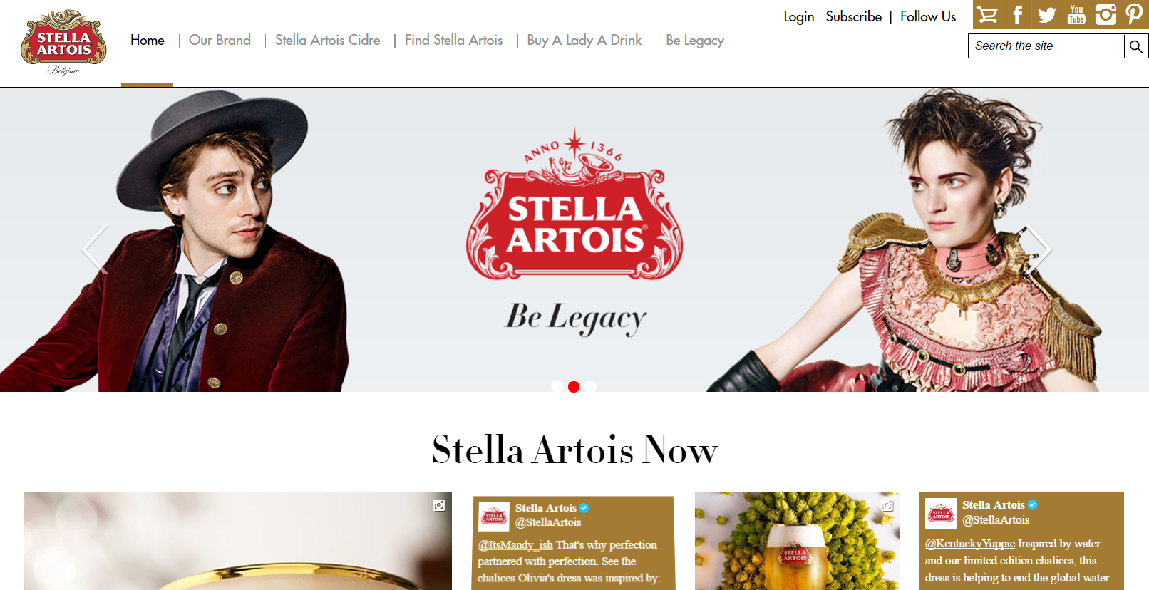 Tagine examples: Stella Artois, Be Legacy