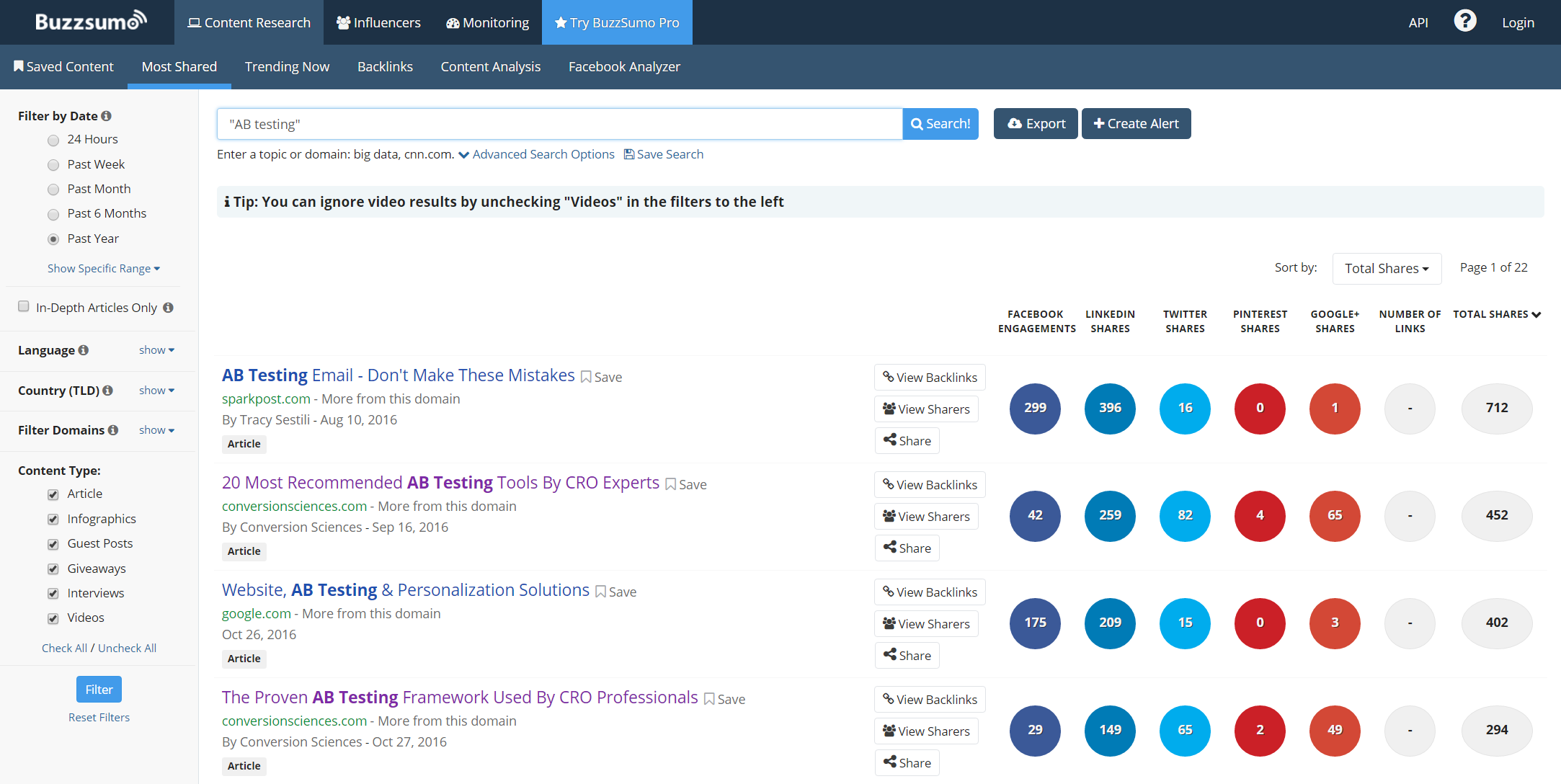 Tagline examples: Buzzsumo's tagline is found in its interface.