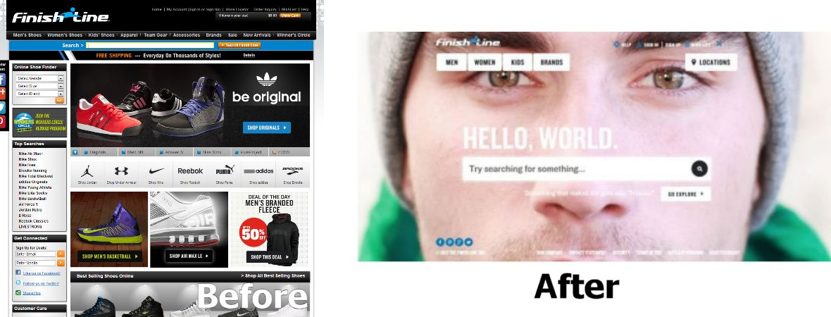 FinishLine.com completely changed their website in 2013 with disastrous results. © 2014 The Finish Line, Inc.