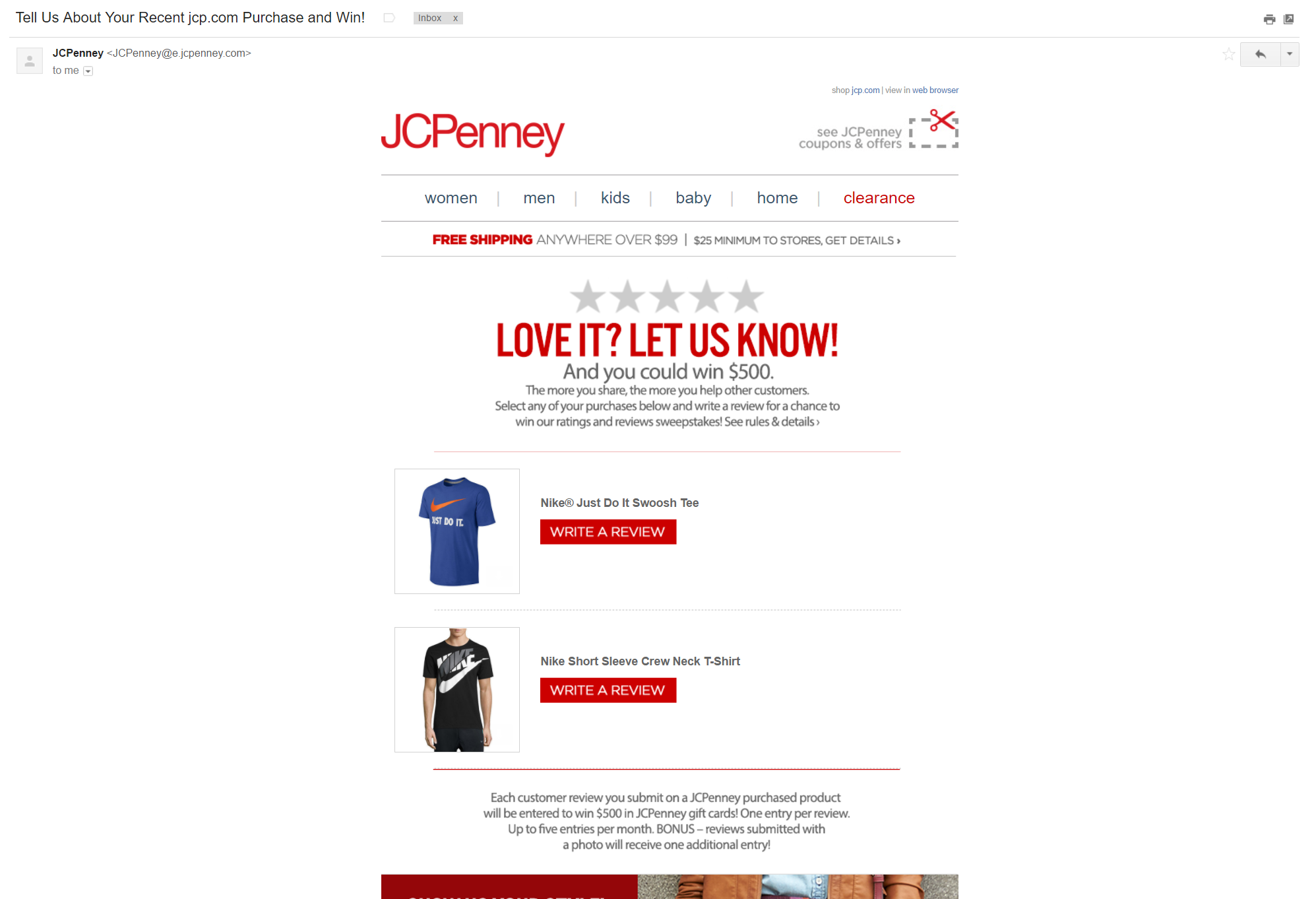 JCPenney review incentive