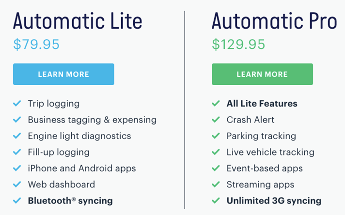The feature comparison chart presented by Automatic.
