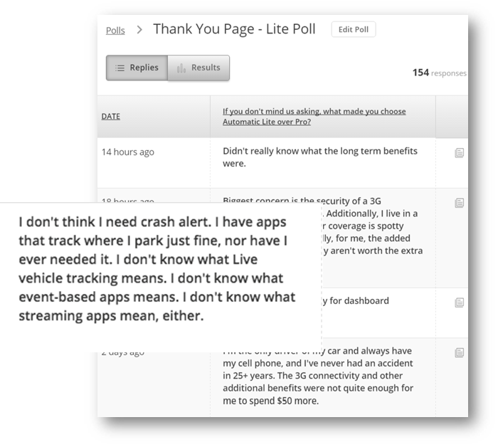 """A thank-you page survey asked, """"What made you choose Automatic Lite over Pro?"""""""