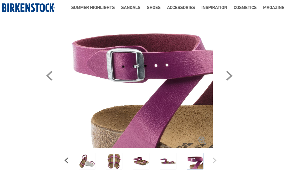 Birkenstock uses images to communicate details and colors on their product pages.