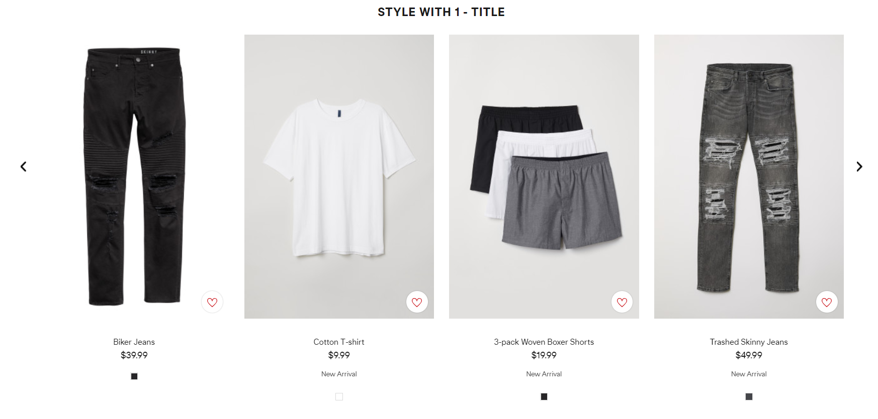 H&M uses a scrolling list of recommended product pairings.