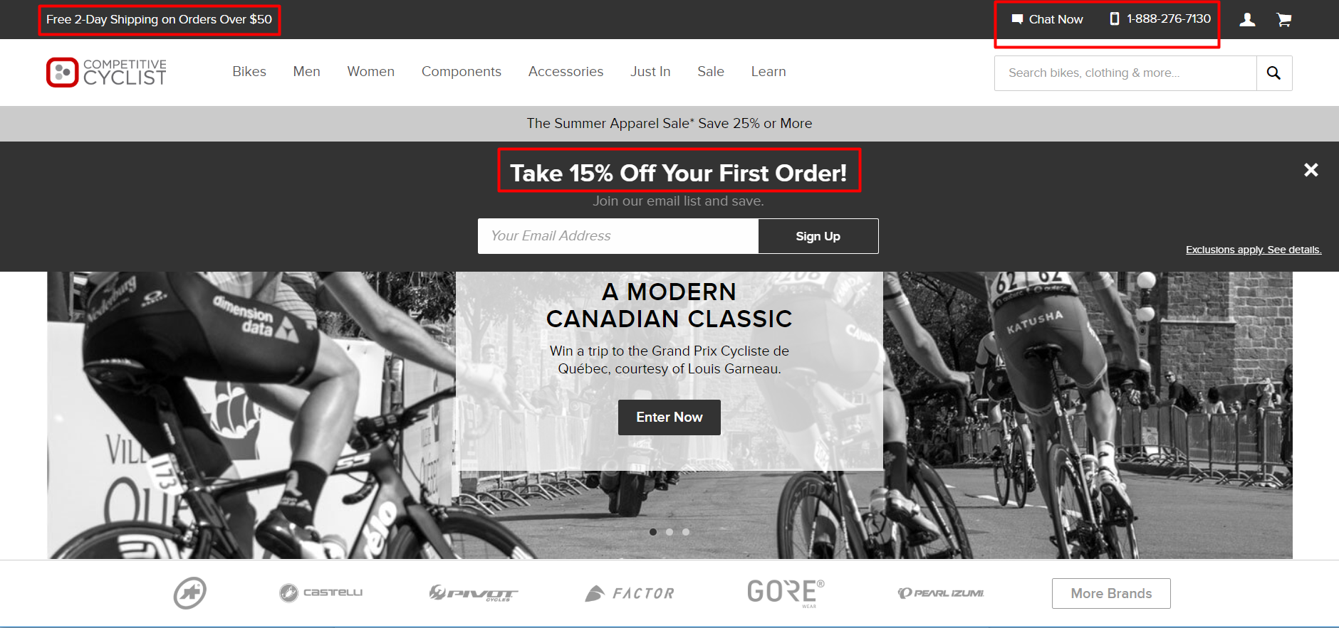 Competitive Cyclist offers a discount off of the first order.