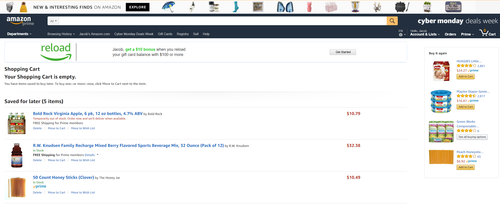 "Amazon puts the ""Buy it Again"" prompt on its order pages."