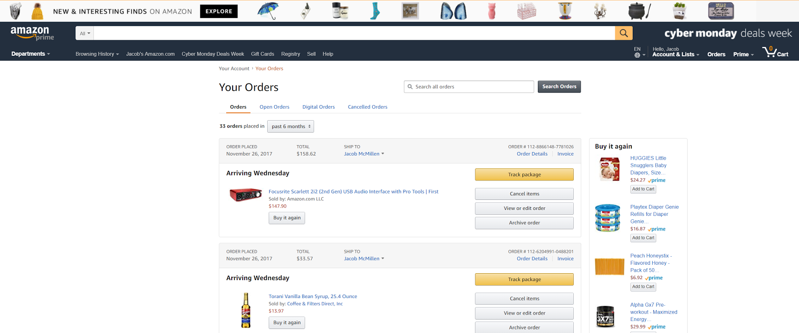 Even when checking the status of your orders, Amazon asks you to buy it. Again.