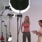 Joel Harvey directing a shoot for a well-know fitness apparel company