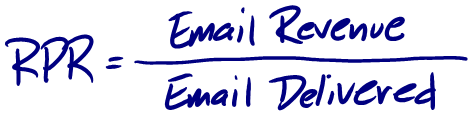 revenue per recipient is email revenue divided by email delivered