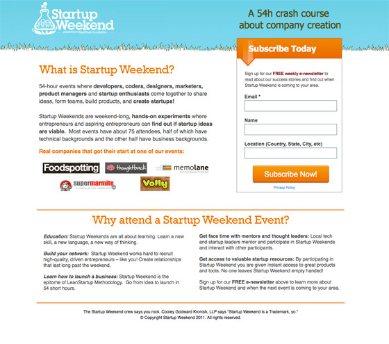 Startup Weekend creates a context with their copy on this page.